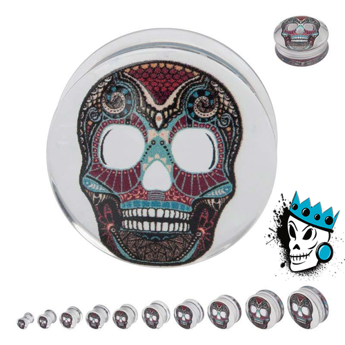 Clear Sugar Skull Plugs
