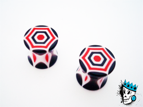 Acrylic Red/Black Plugs