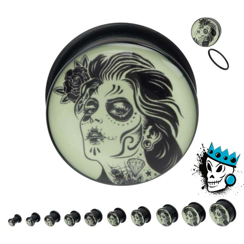 Day of the Dead Girl Glow in the Dark Plugs