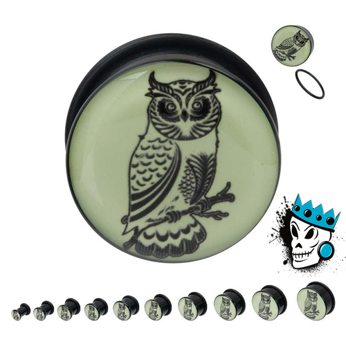 Perched Owl Glow in the Dark Plugs