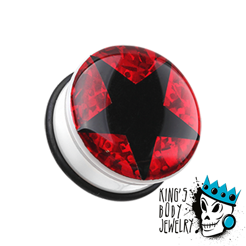 Black Star with Red Glitter Plugs
