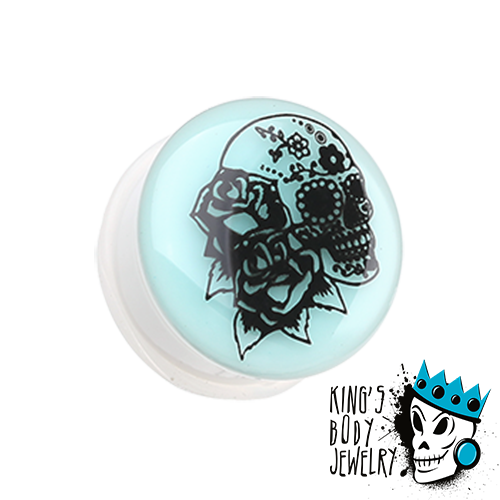 Skull & Roses Glow In Dark Plugs