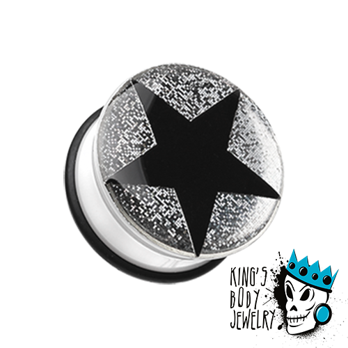 Black Star with White Glitter Plugs