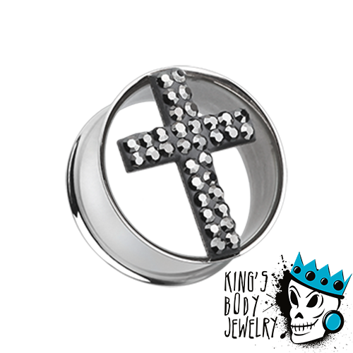 Black Cross Bling Plugs