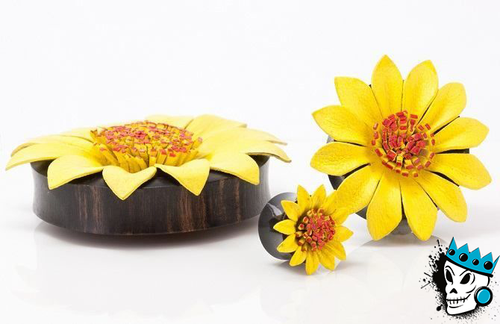 Yellow Flower Wood Plugs