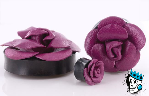 Purple Flower Wood Plugs