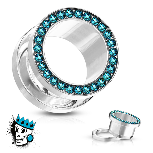 Aqua Bling Flesh Tunnels
