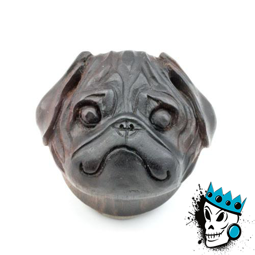 Areng Wood Carved Pug Plugs