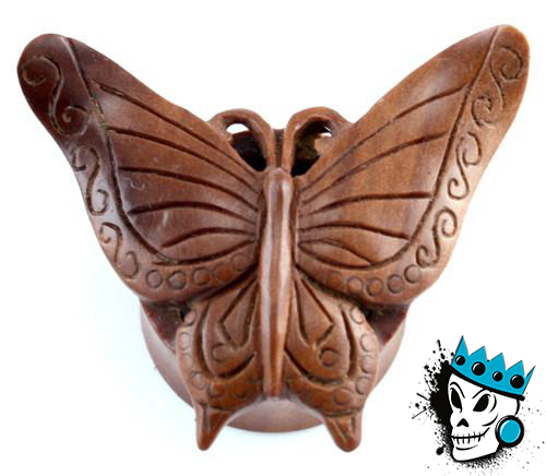 Red Saba Wood Butterly Plugs