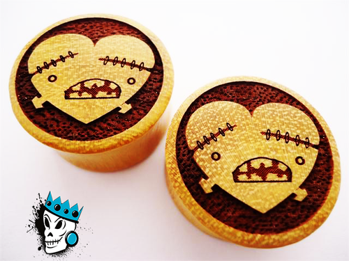 Heart and Bones Crocodile Wood Plugs