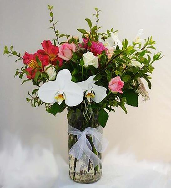 large vase arrangement, multi color