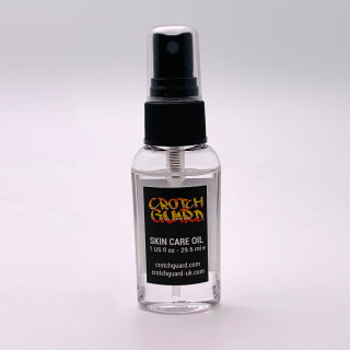 Pocket size bottle of Crotch Guard skin care oil