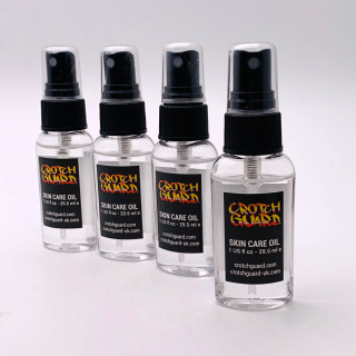 Photograph of 4 bottles showing the revolutionary new anti-chafing skin care oil from Crotch Guard