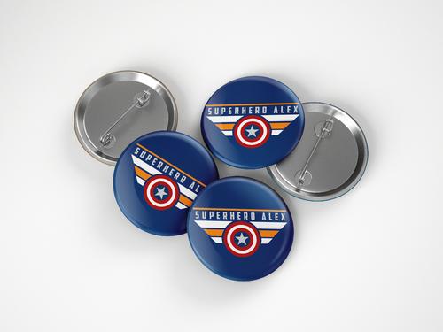 Superhero Alex Button Pin