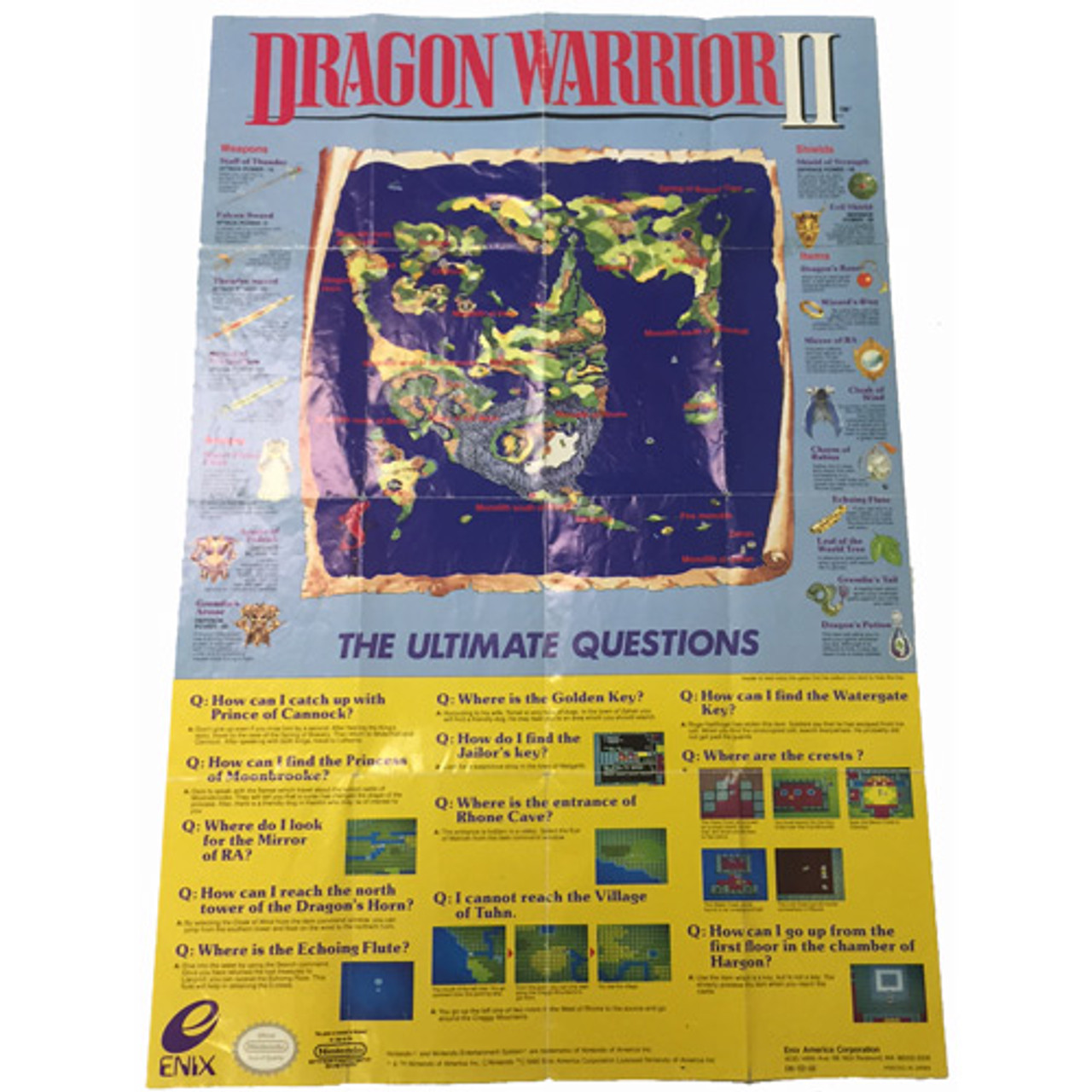 Dragon Warrior II World Map NES For Sale | DKOls on