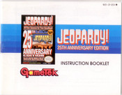 Jeopardy 25th Anniversary Edition - NES Manual