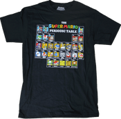Super Mario Periodic Table Black - Officially Licensed T-Shirt