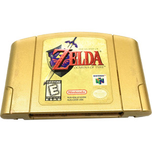 Legend of Zelda Ocarina of Time Gold Nintendo 64 N64 used video game cartridge for sale online.