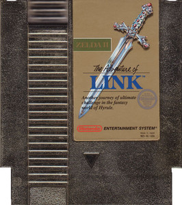 Adventure of Link Gold (Zelda II) Nintendo NES game cartridge image pic