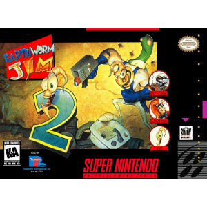 Earthworm Jim 2 Super Nintendo SNES game for sale with Box and Cover Art
