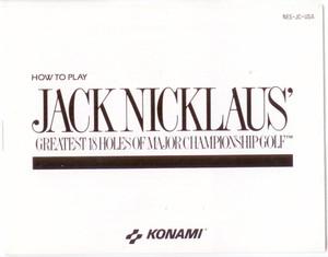 Jack Nicklaus Golf 18 Greatest Holes - NES Manual