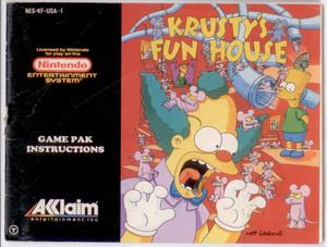 Krusty's Fun House The Simpsons - NES Manual