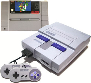 Super Nintendo System Console with Mario World original cartridge game and 2 controllers for sale.