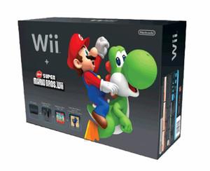 Wii System Black in Box w/ Super Mario Bros. Box