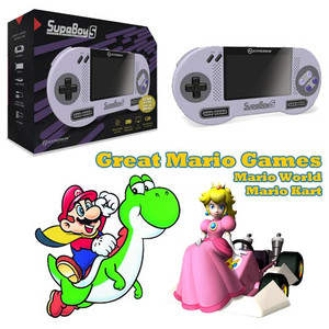 Supaboy starter SNES bundle pak with great Super Nintendo games like Mario World and Mario Kart for sale.