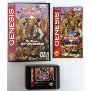 Complete New Horizons Sega Genesis CIB game for sale.