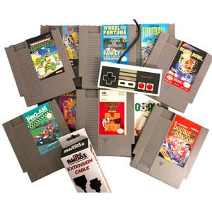 Nintendo NES 10 Game Gift Bundle, 1 Original NES Controller and controller extension for sale.