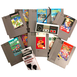 Nintendo NES 10 Game Gift Bundle, 1 Original NES Controller and controller extension for sale.