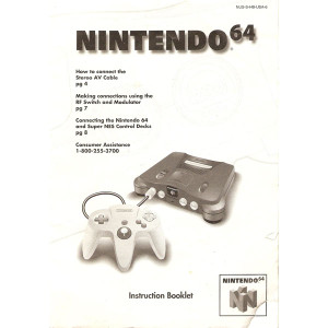 Nintendo 64 System Instruction Booklet - N64 Manual