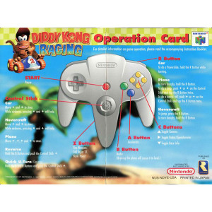 Diddy Kong Racing - N64 Operation Card