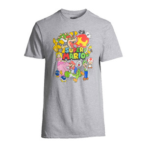 Super Mario Bros Characters Grey Officially Licensed Nintendo T-Shirt For Sale
