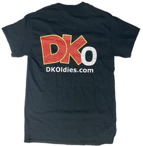 This brand new 100% cotton black t-shirt has the DKOldies  logo screen printed on the front and the back Get yours before they sell out!