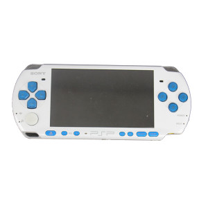 Sony PSP 3000 Handheld System Pearl White with Blue Buttons w/ Charger