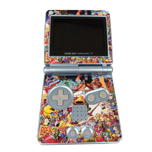 GameBoy Advance System Pearl Blue w/ Nintendo Characters Skin