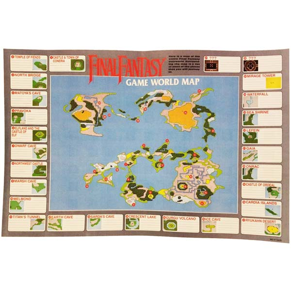 Final Fantasy Nes World Map.Original Final Fantasy World Map Insert For Sale Dkoldies