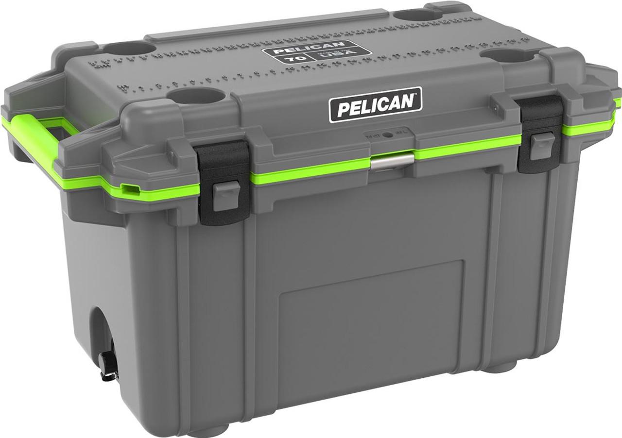 Pelican 70QT Elite Cooler, Dark Grey & Green