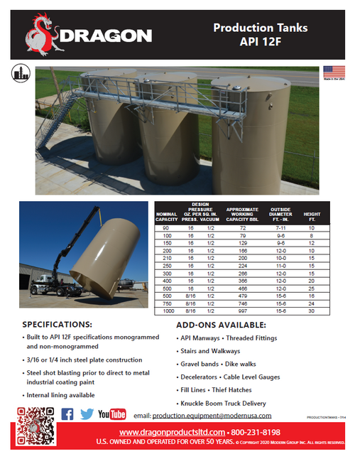 Production Tanks, 90-1000BBL