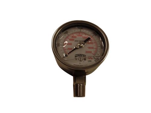 """SS Gauge, 4"""" DIA, Liquid Fill, 1/2 BTM MNT 0-3000#"""