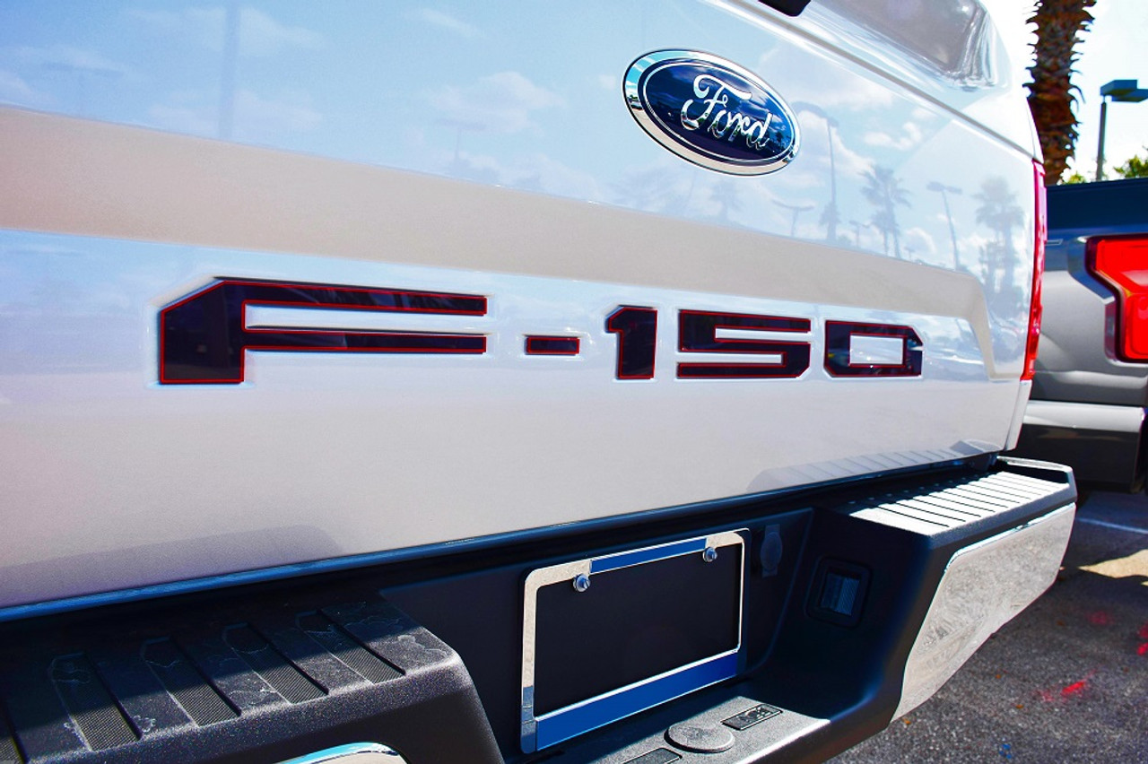 Ford 18-up F-150 Tailgate Letter Kit (Black w/ Red Outline)