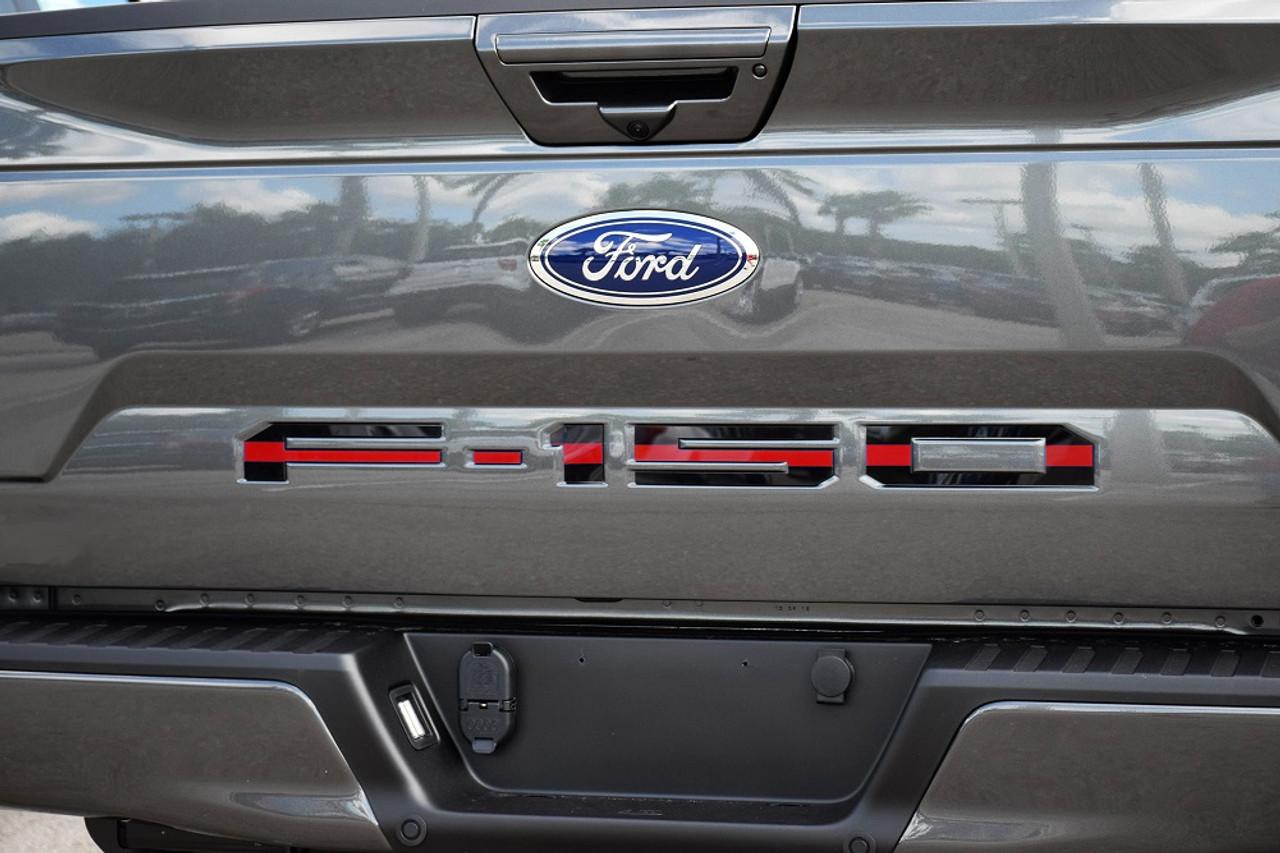 Ford 18-up F-150 Tailgate Letter Kit (Black w/ Red Center Line)