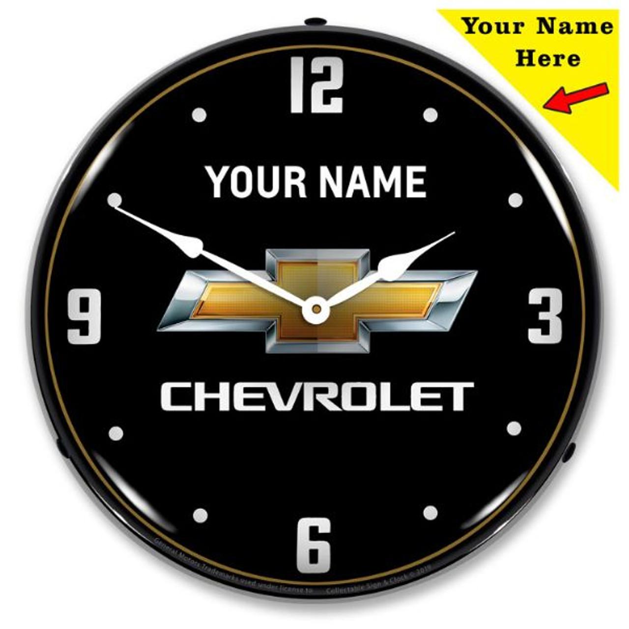 Custom Chevrolet Bowtie Black LED Backlit Clock