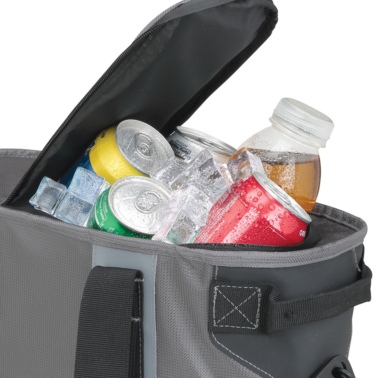GMC Gray and Black 24 Can Cooler Bag (inside closeup)