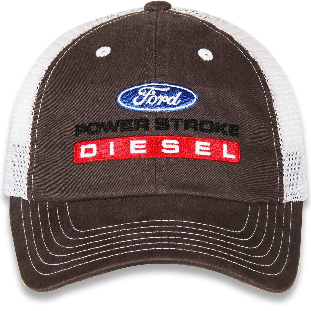 Ford Power Stroke Diesel Gray & White Mesh Hat (front)