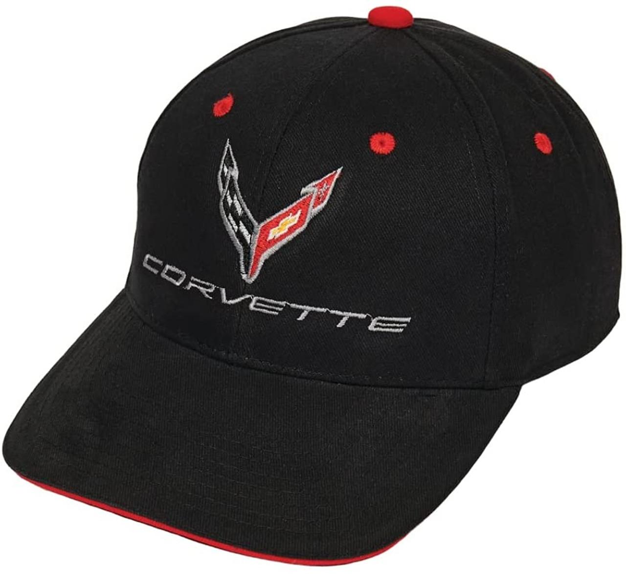 C8 Corvette Structured Contrast Black Cotton Hat