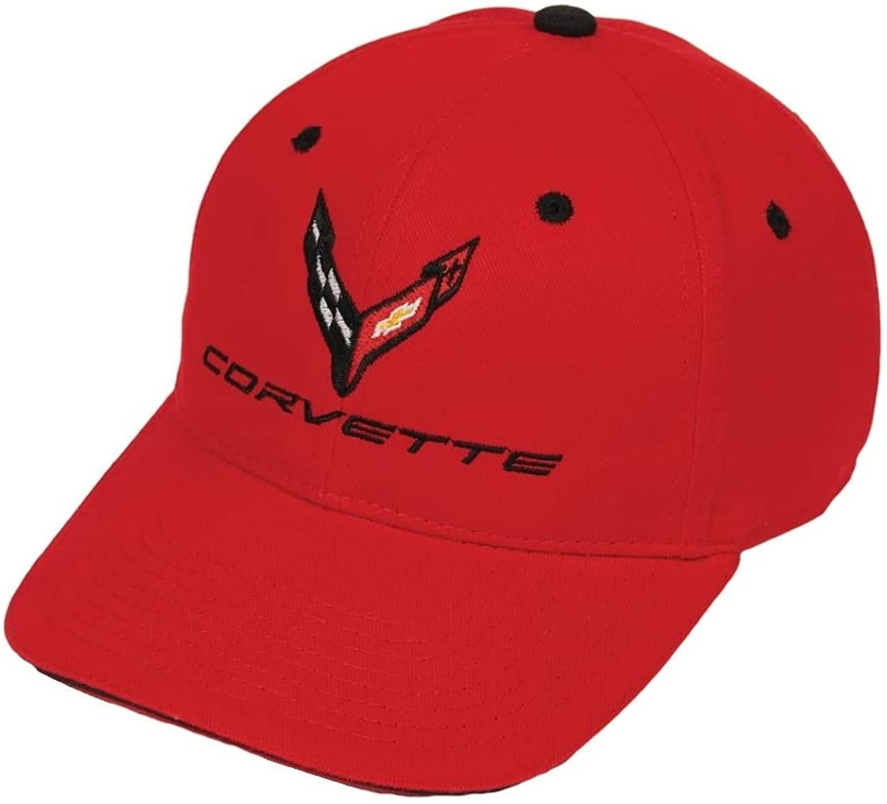 C8 Corvette Structured Contrast Red Cotton Hat