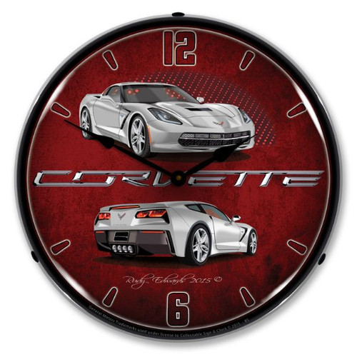 C7 Blade Silver Corvette Backlit Clock